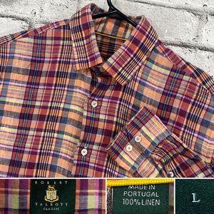 Robert Talbott 100% Linen Size Large Multicolor Plaid Hidden Button Down Shirt